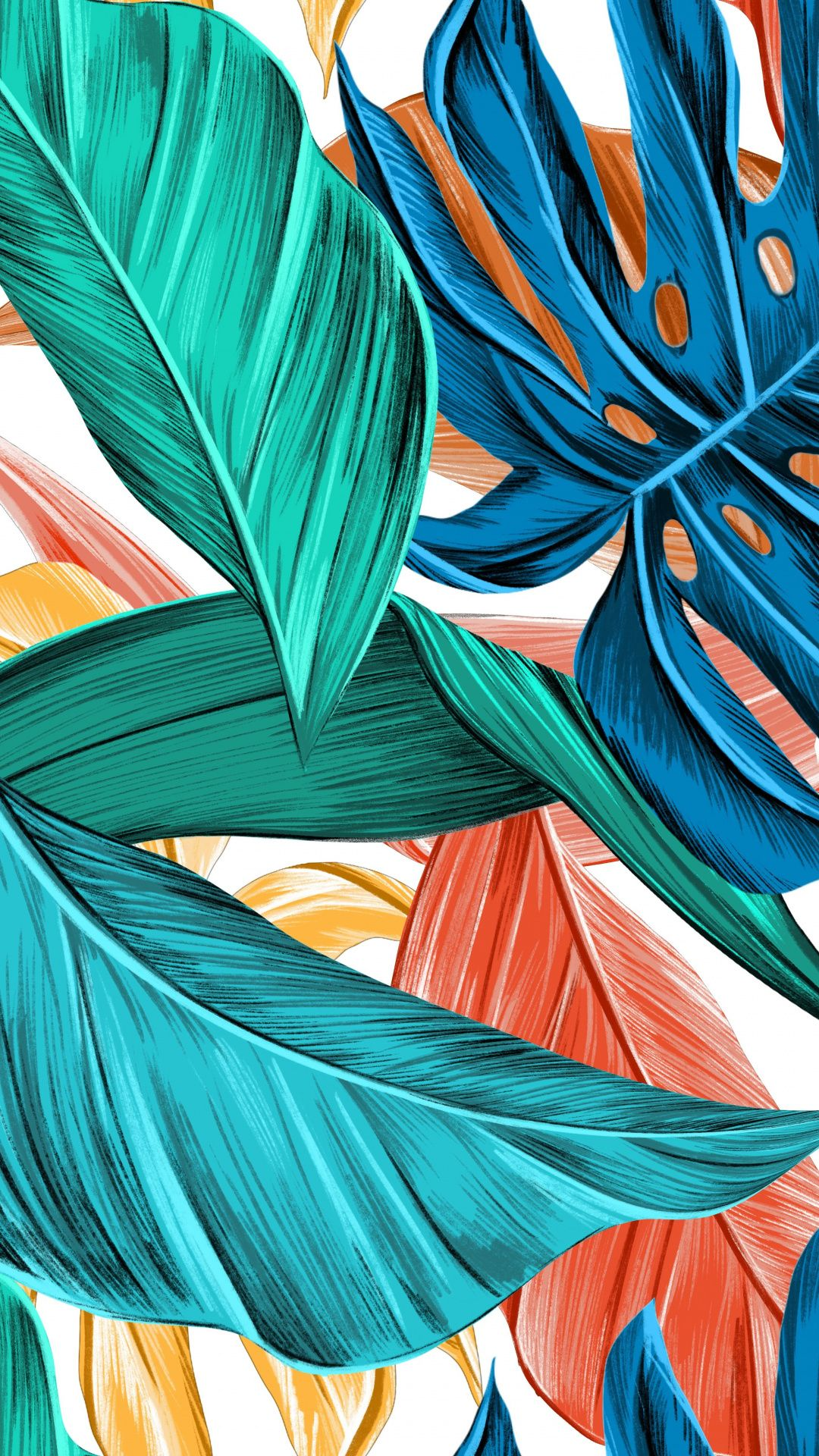 Abstract Leaves Colorful Art Wallpaper In 2019 Leaves