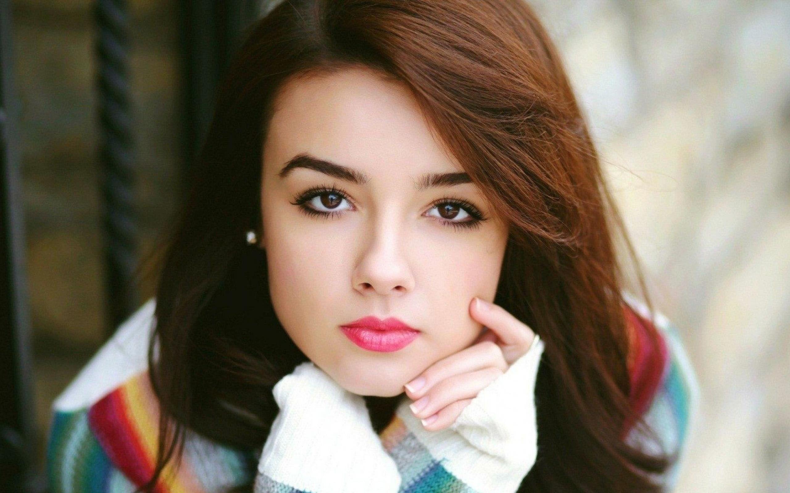 Portrait Beautiful Girl Red Lips Nice Eyes Wide Hd Wallpaper Cool
