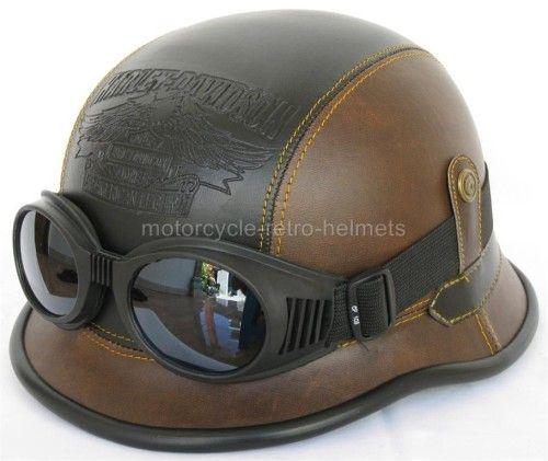 German Brown Black Leather Hd Helmet Leather Motorcycle Helmet Motorcycle Helmets Vintage Helmet