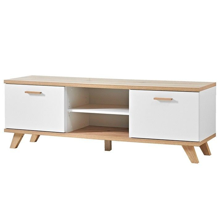 Pour une déco scandinave dans votre salon, ce meuble télé bois et - Meuble Tv Avec Rangement