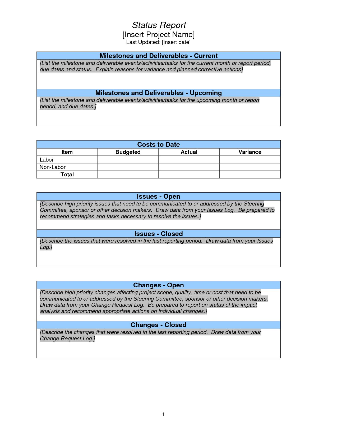Project Status Report Template Weekly Sample