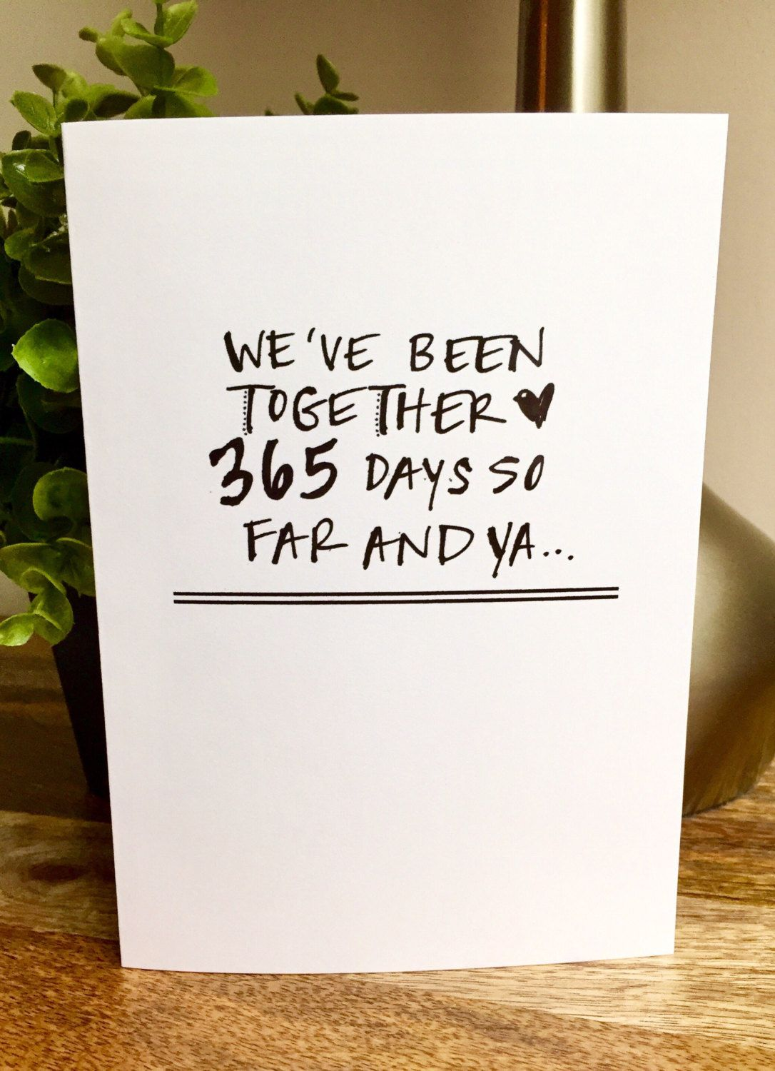 One Year Anniversary Card for her, Paper Anniversary