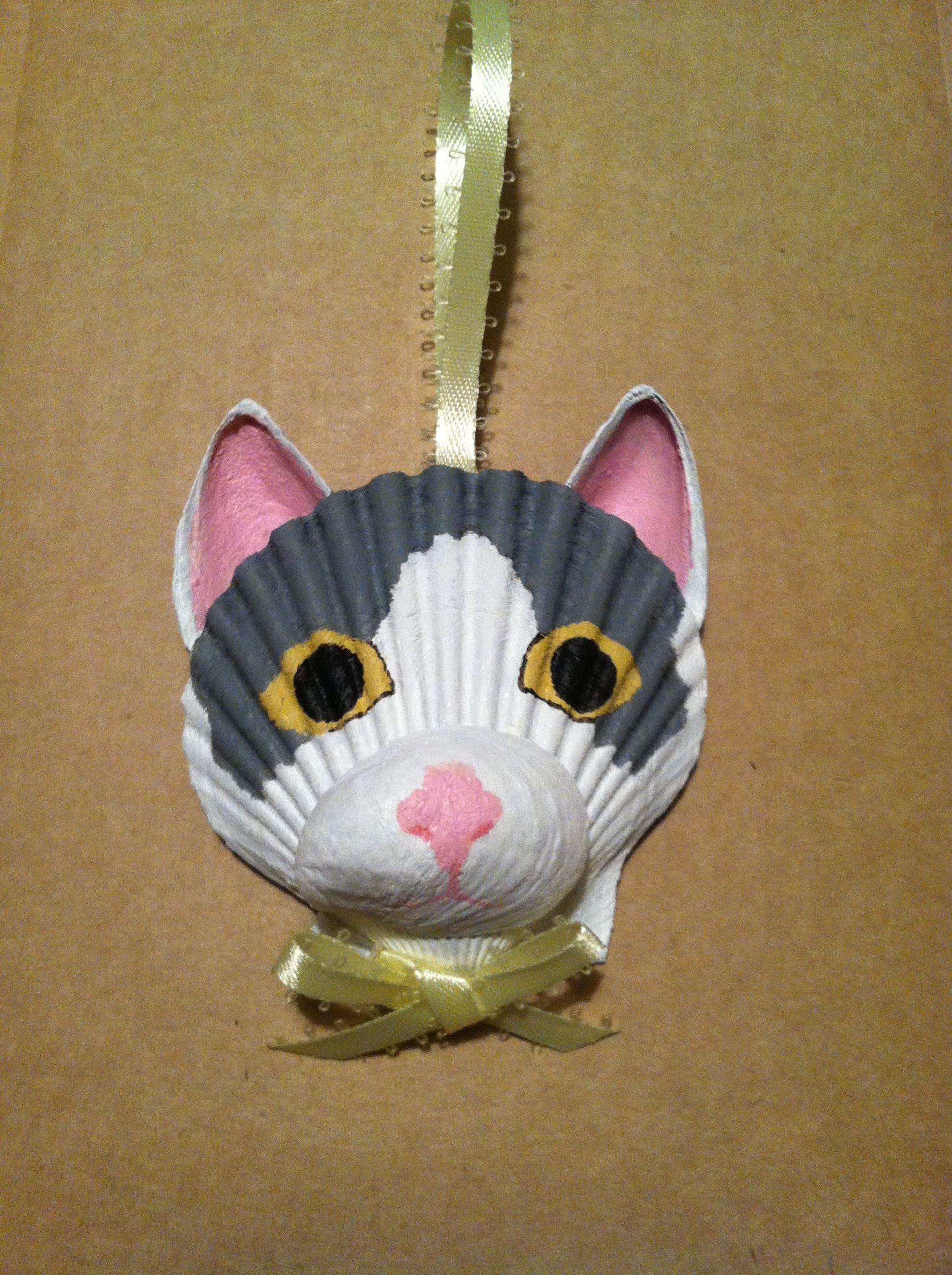 Sea shell christmas ornaments - Seashell Cat Ornament By Lori S Shell Art