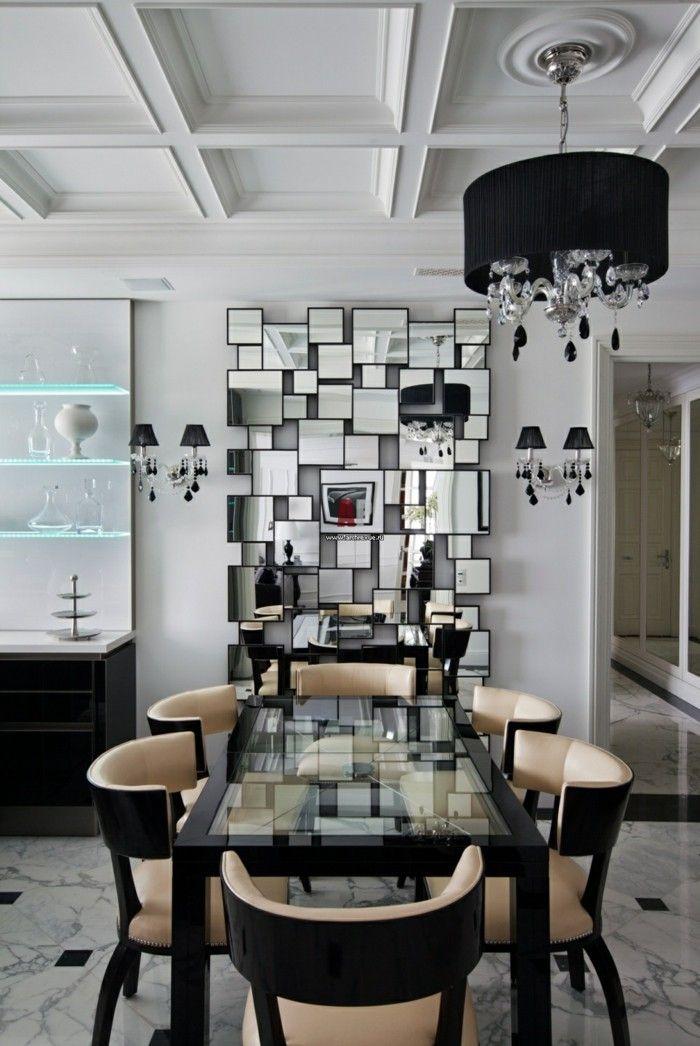 kronleuchter modern esszimmer akzentwand einrichtung schwarze - esszimmer einrichtungsideen modern