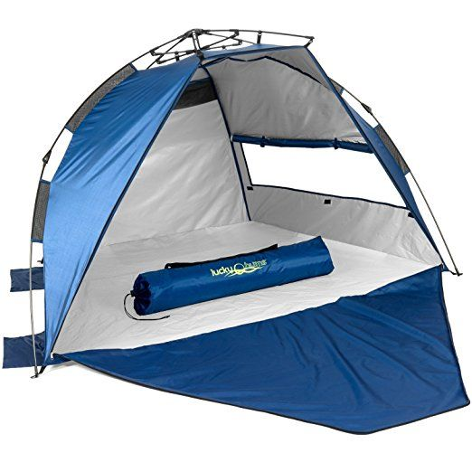 Lucky S Upf 50 Fully Enclosed Easy Pop Up Beach Tent 48 X 42 Blue