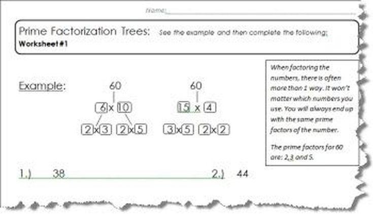 5 Prime Factor Tree Worksheets