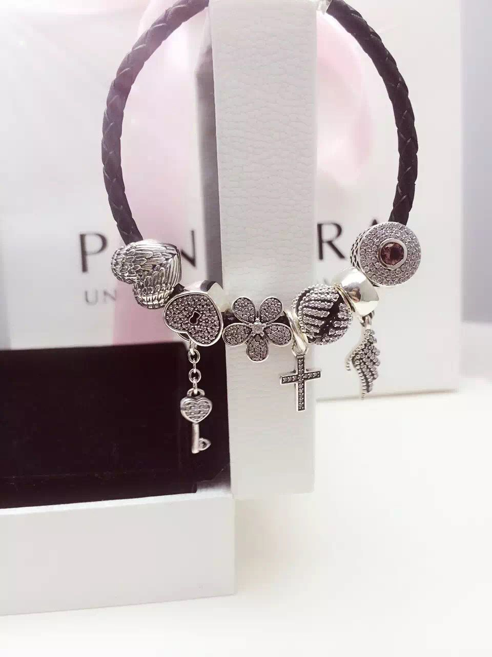 e93631236 50% OFF!!! $199 Pandora Leather Charm Bracelet Pink Black. Hot Sale ...