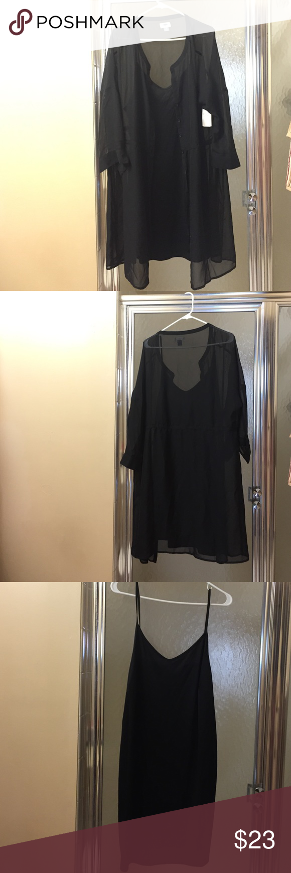 Plus size dress Sheer button up dress, with black slip dress, never worn with tags... Old Navy Dresses