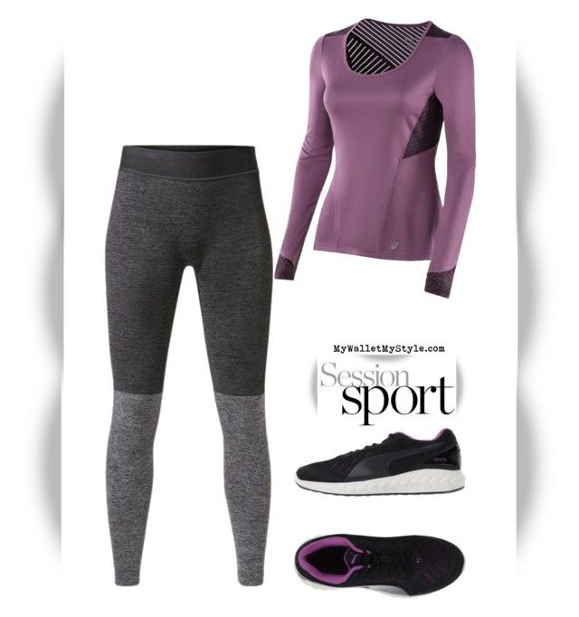 """Fitness Edition: Purple Grey"" by mywalletmystyle ❤ liked on Polyvore featuring Asics, MANGO, Puma and WALL"