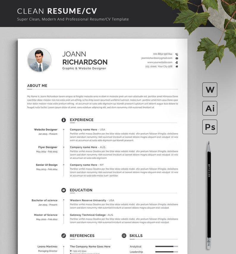 Modern And Creative Resume Template Modern Professional Resume Template For Word Cv Resume Cover Letter Kreative Lebenslaufvorlagen Lebenslauf Vorlagen Word Kreativer Lebenslauf