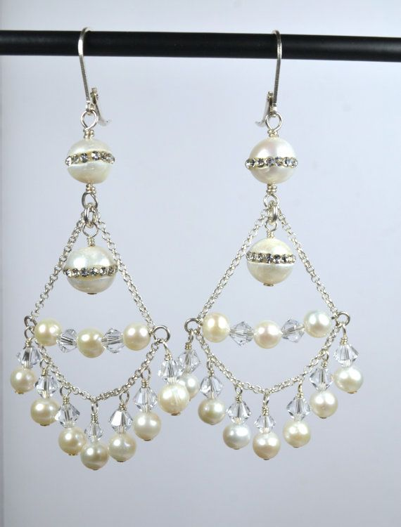 Gorgeous Freshwater CZ Pearls and by RomanceInSilverBride on Etsy, $60.00