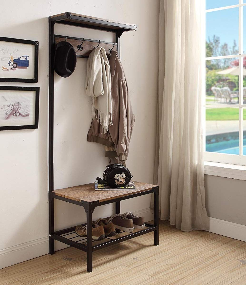 Build Your Own Coat Rack: Industrial Look Entryway Shoe Bench With Coat Rack