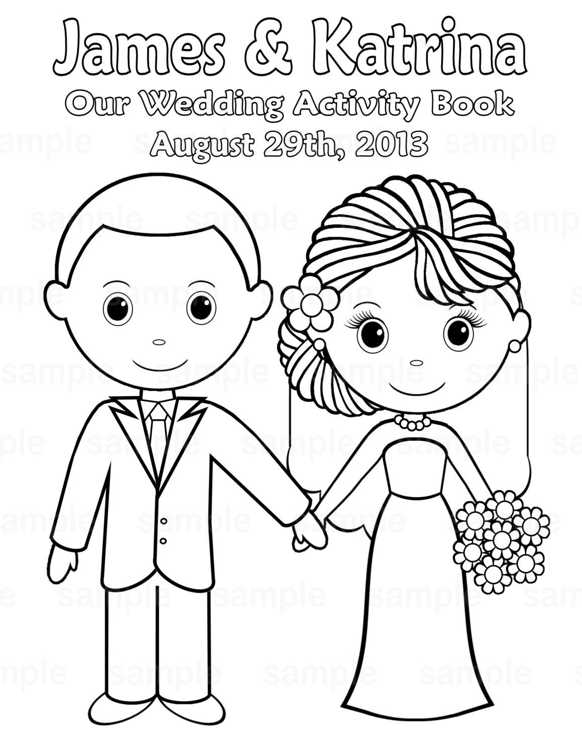 Printable Personalized Wedding Coloring Activity Book Favor Etsy Wedding With Kids Wedding Coloring Pages Wedding Activities
