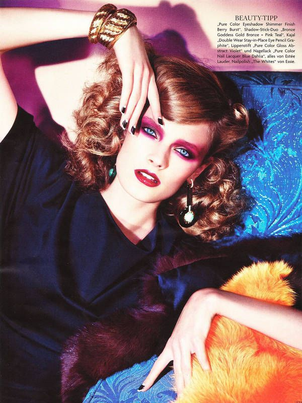 """Constance Jablonski-Vogue Germany  March 2011 """"China Syndrome""""  retro 1940s/rockabilly hair style with curls. bright pink and red makeup. black and white nails. chunky bangles. i am LOVING her hair and makeup, it's like past-meets-present all in one pretty package"""
