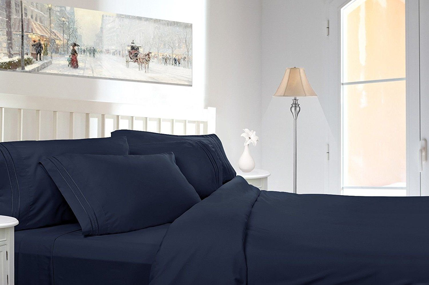 Egyptian Comfort 1800 Count 4 Piece Deep Pocket Bed Sheet King 4pc Set (Navy Blue