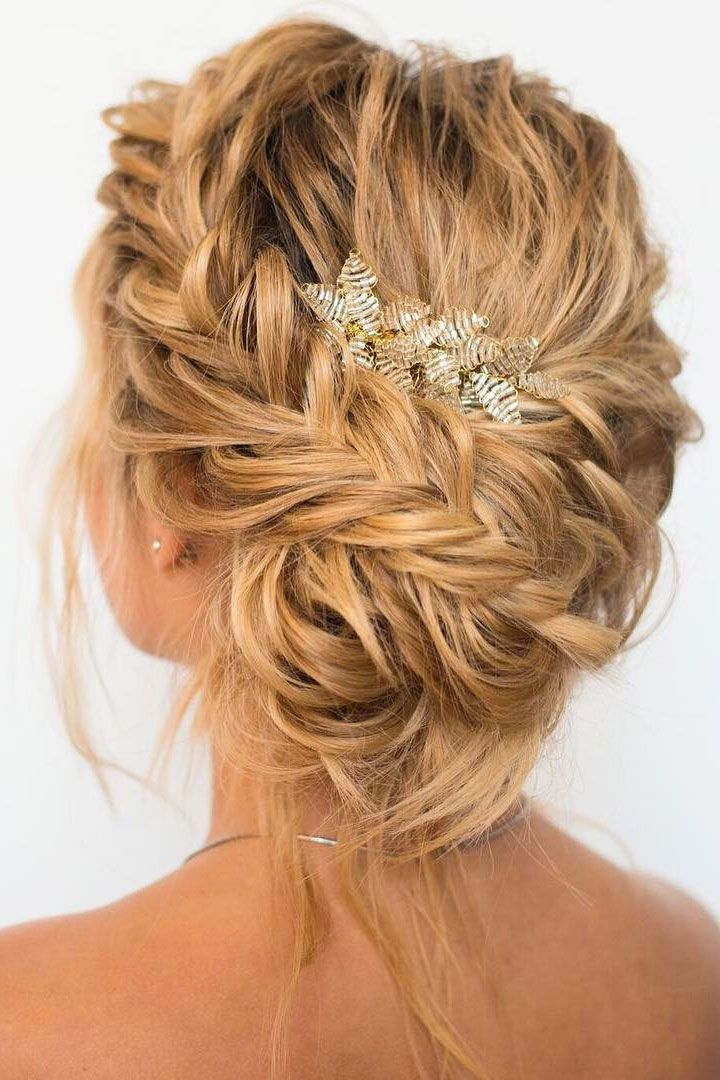 Beautiful Braided With Messy Updo Wedding Hairstyle Inspiration