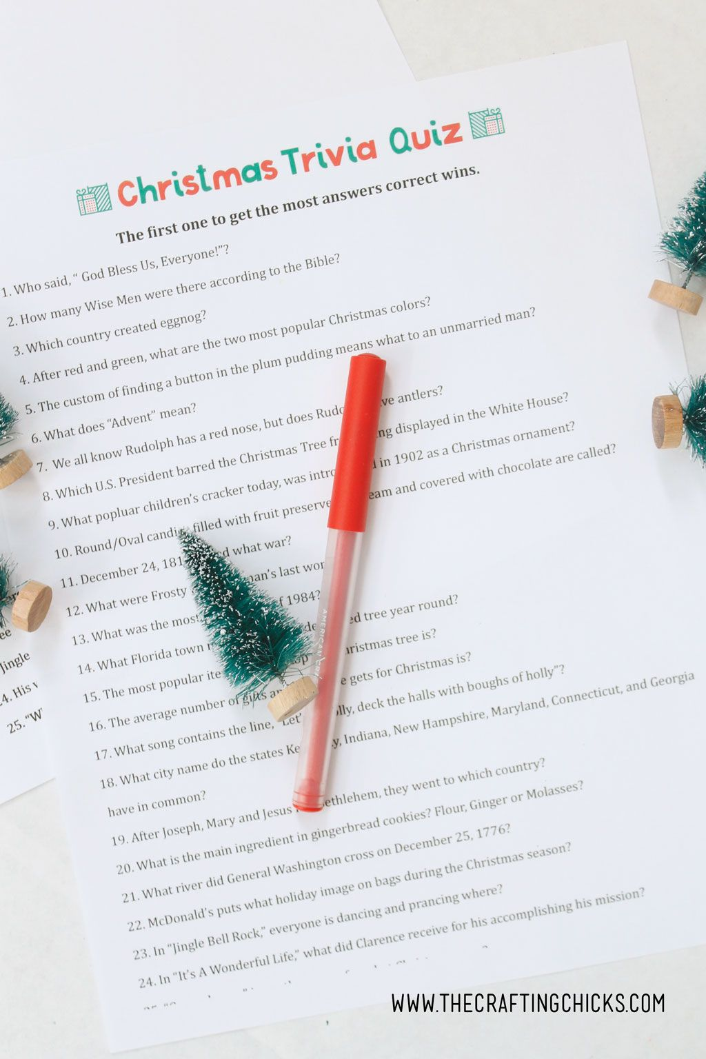 Christmas Trivia Quiz Free Printable With Images