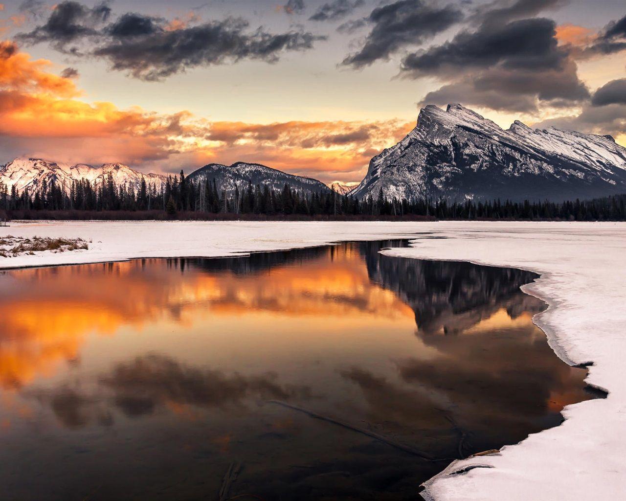 Hiver neige coucher de soleil montagne lac r flexion arbres fonds d 39 cran 1280x1024 - Photo coucher de soleil montagne ...