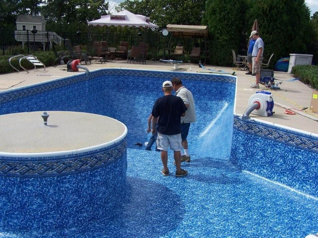 Proud Father Son Liner Installation Team Swimming Pool Liners Above Ground Pool Liners Pool Liner Replacement