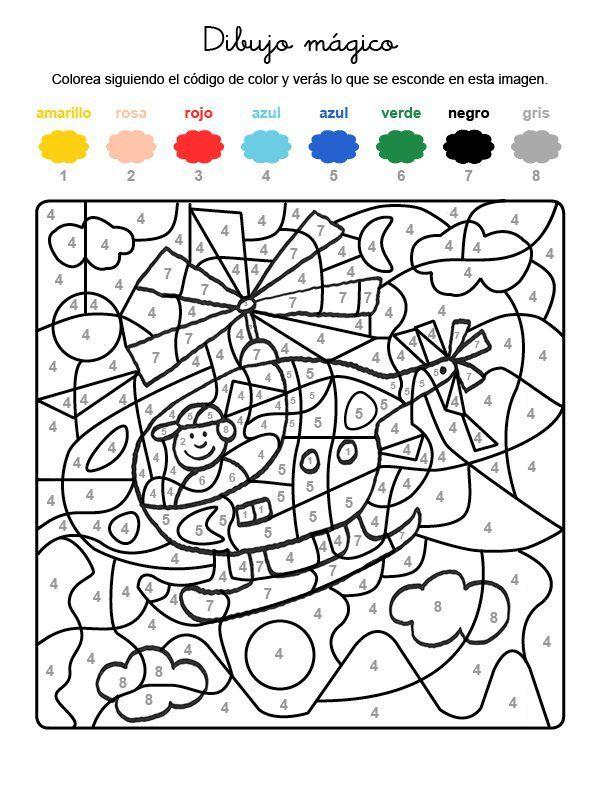 Dibujo Magico De Helicoptero Dibujo Para Colorear E Imprimir Dibujos Para Colorear Matematicas Para Colorear Colorear Por Numeros