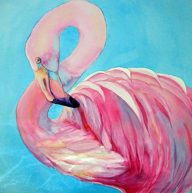 Pink flamingo flamingos pintar acuarela flamencos for Fenicottero arredamento