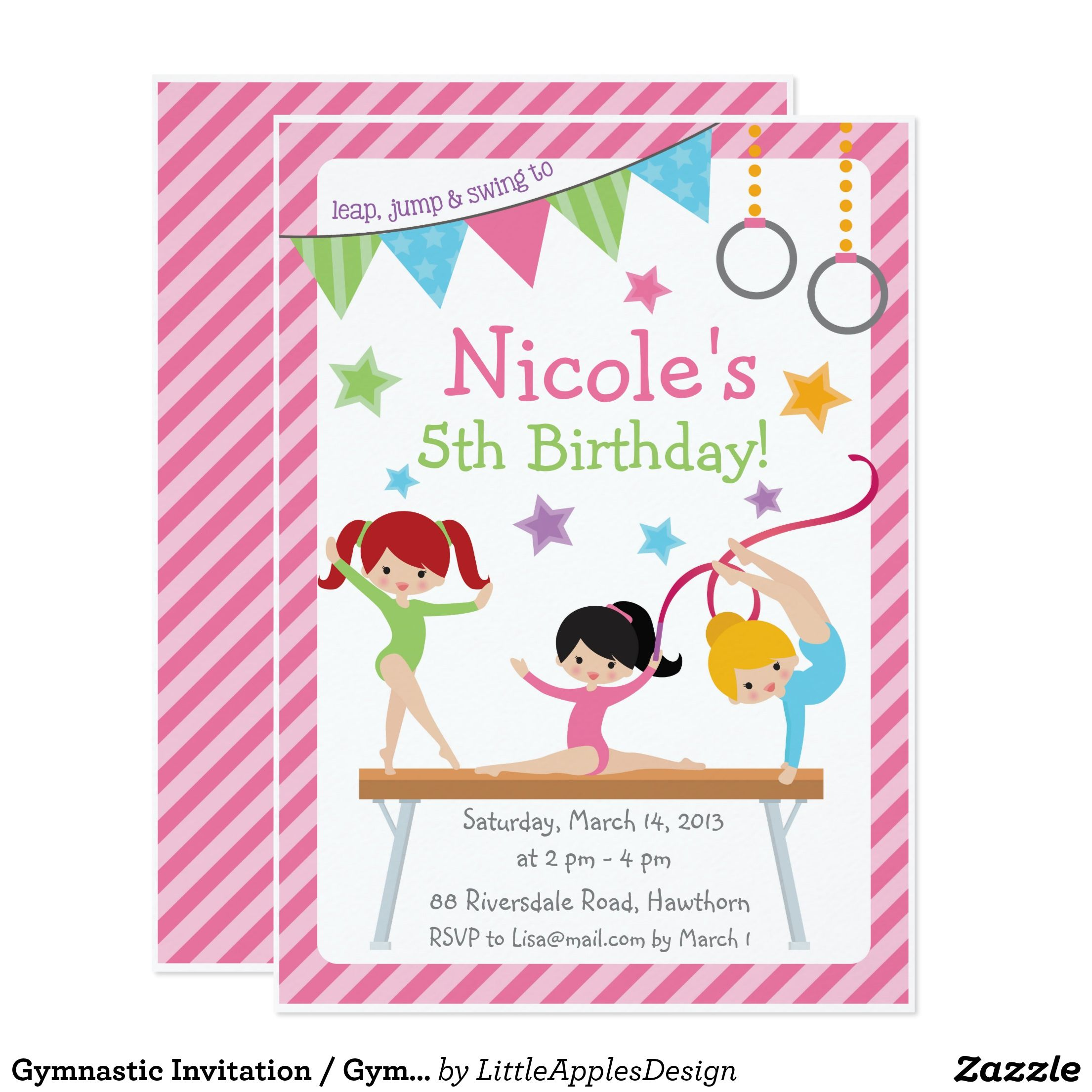 Gymnastic Invitation / Gymnastic Birthday Invite | Gymnastics party ...