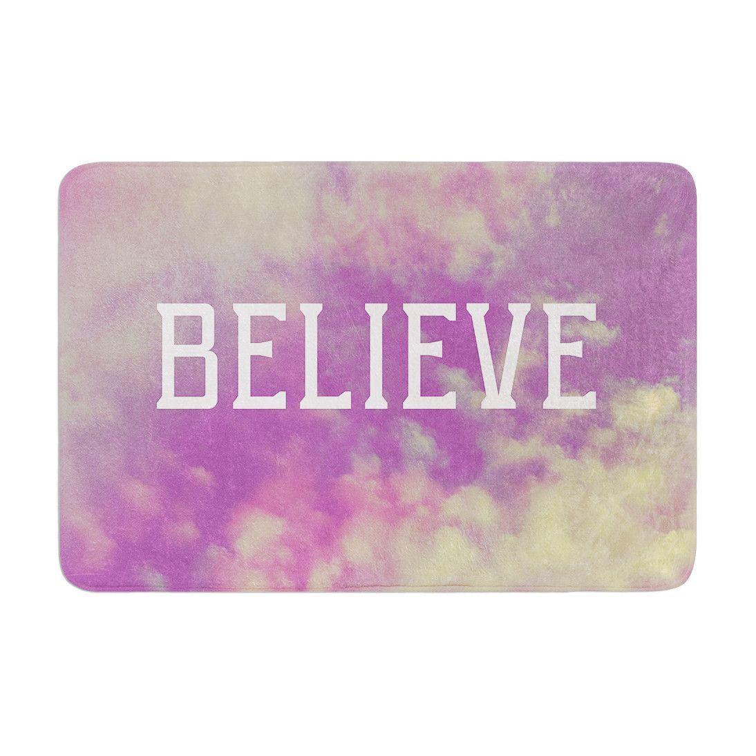 "Rachel Burbee ""Believe"" Purple Clouds Memory Foam Bath Mat"