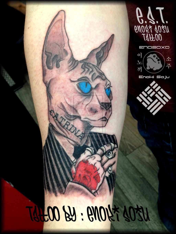 Gangster Cat Tattoo By Enoki Soju By Enokisoju Deviantart Com On Deviantart Cat Tattoo Tattoos Rose Drawing