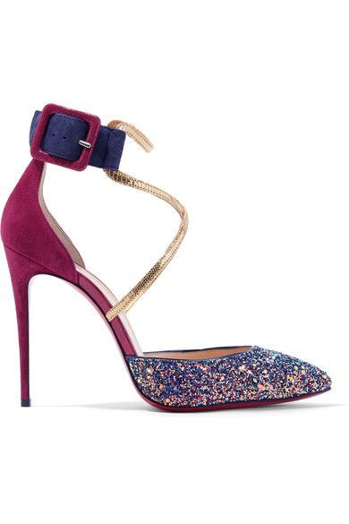 Christian Louboutin Suzanna 100 leather trimmed glittered