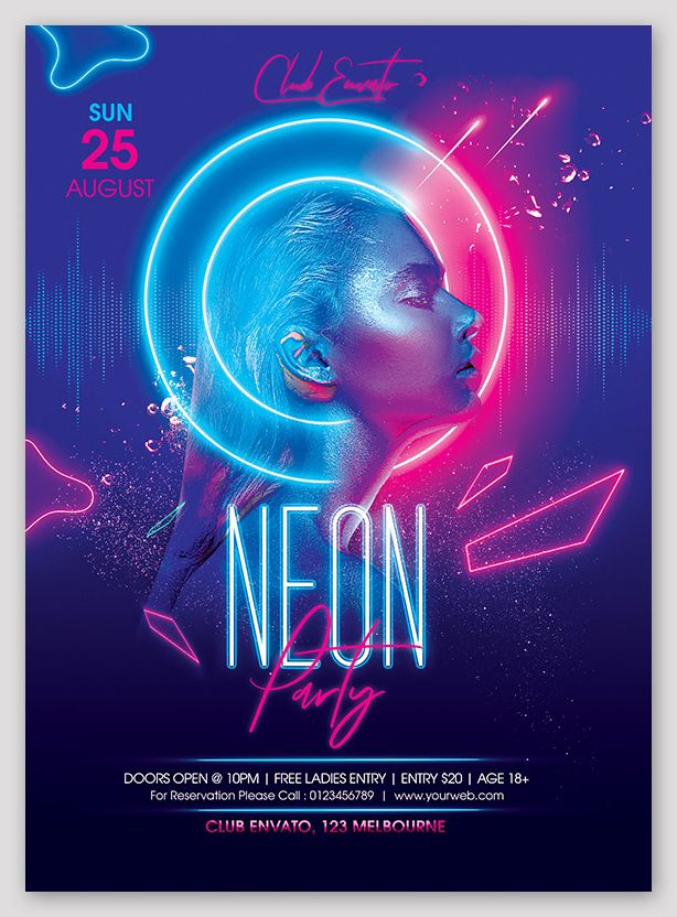 Neon Party Flyer PSD Template - ksioks