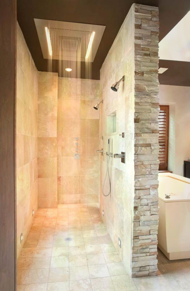 Bathroom rain shower ideas design 4 walk through for Walk through shower plans