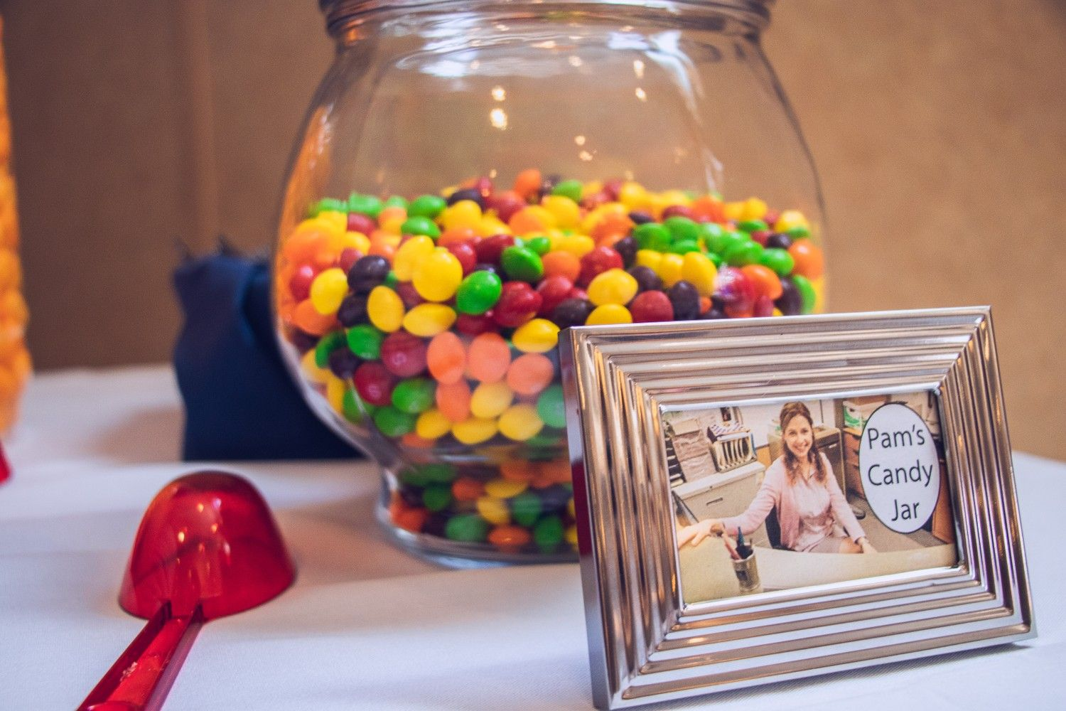Sweet Table For My Sisters Bridal Party With The Office Themed Treats Including Pam S Candy Jar Office Themed Party Office Birthday Office Parties