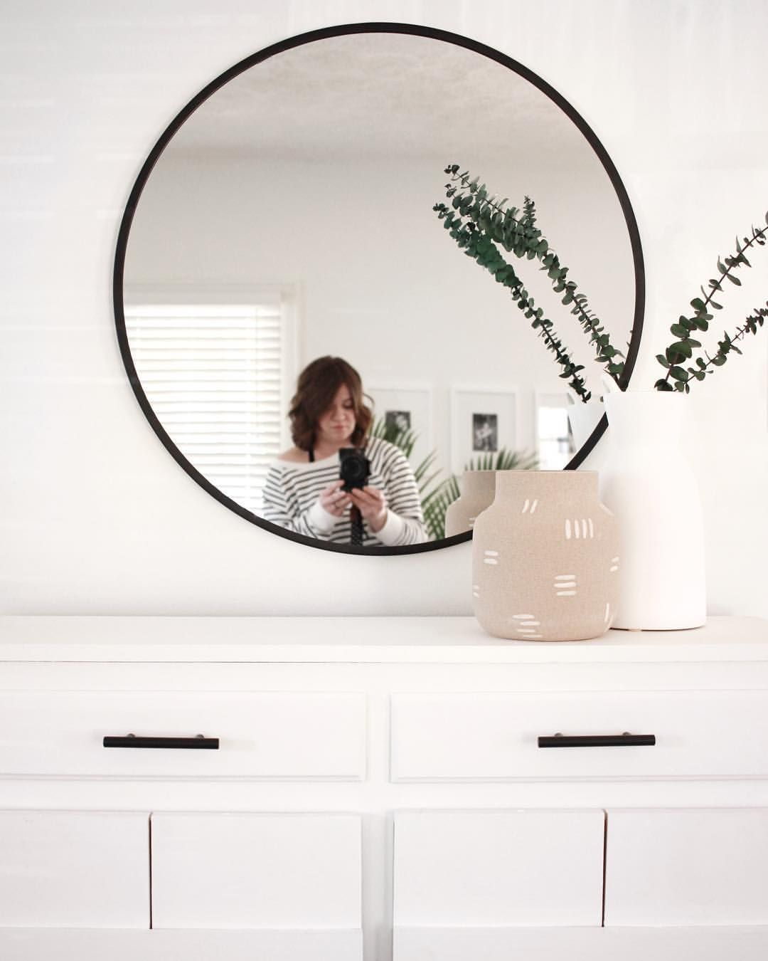 Black circular wall mirror modern farmhouse minimalist