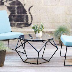 table basse ronde metal noir et marbre mobilier de jardin ...