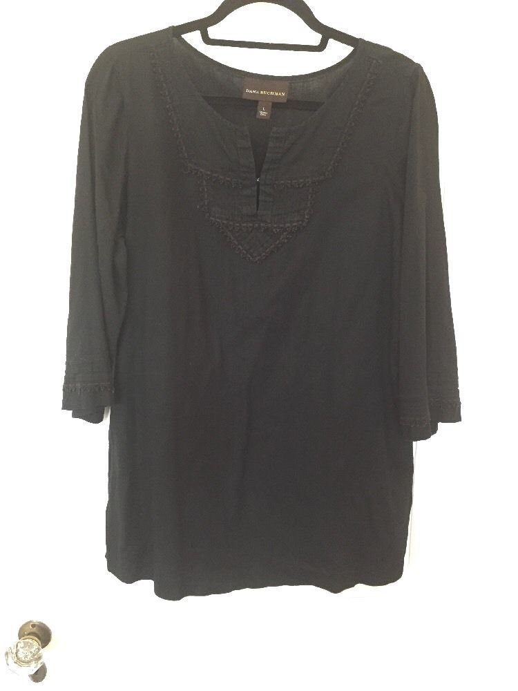 Kohls Dana Buchanan Womens Tunic Top Black Size Large Cotton Lace Detail Blouse #DanaBuchman #Tunic