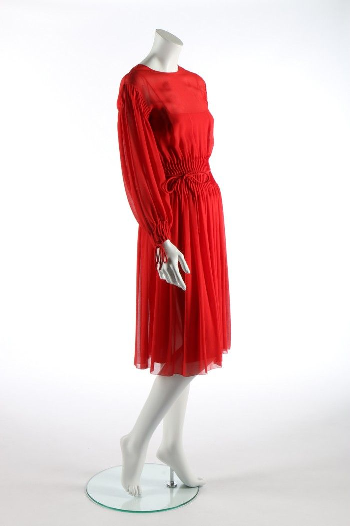 6205c44037 A Marc Bohan for Christian Dior couture red silk crêpe dress