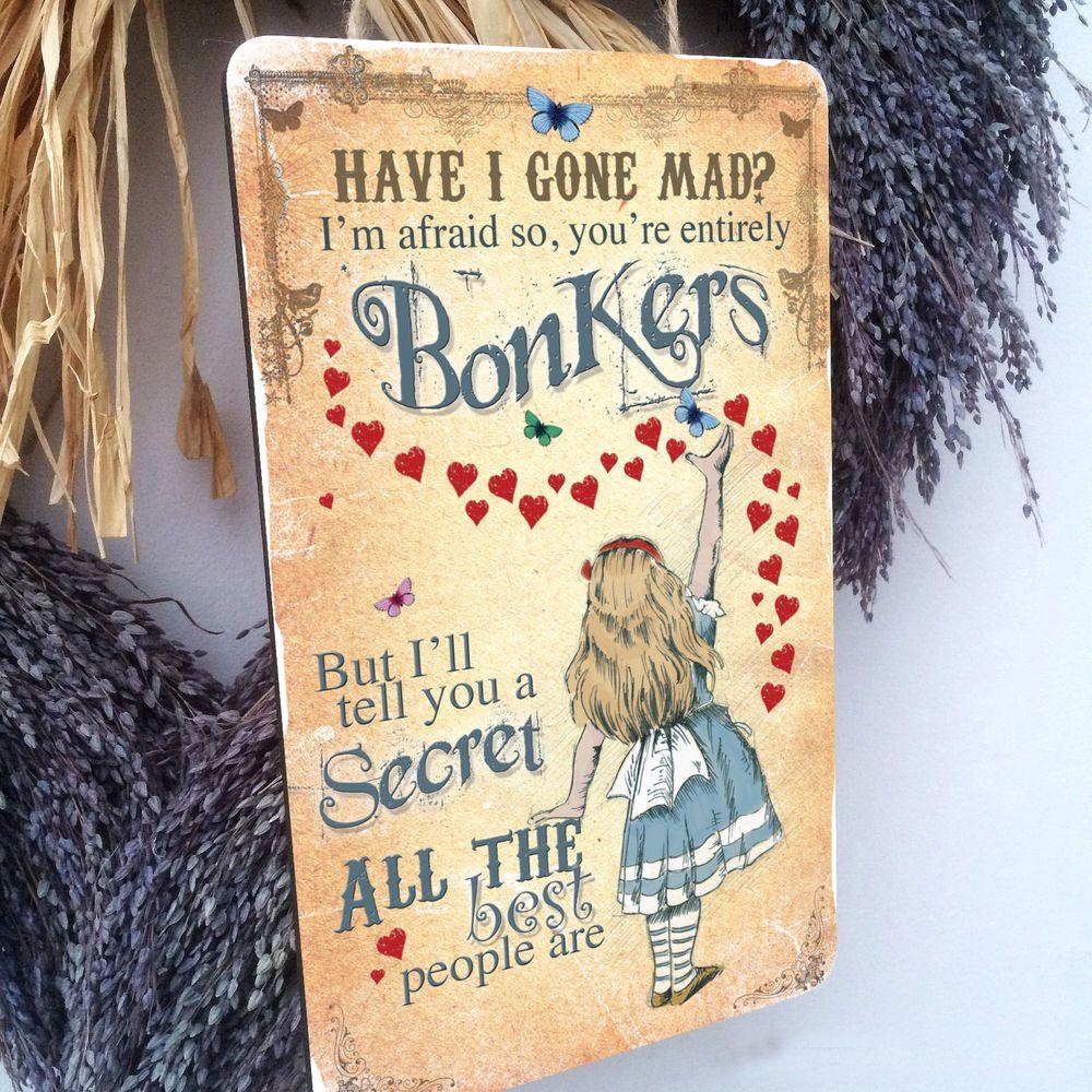 16 Best Images About Mad Camping On Pinterest: ALICE IN WONDERLAND Vintage Hanging Wood Plaque Mad Hatter