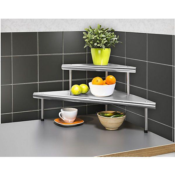 KüchenEckregal Massivo Duo mit 2 Ablagen, Edelstahl