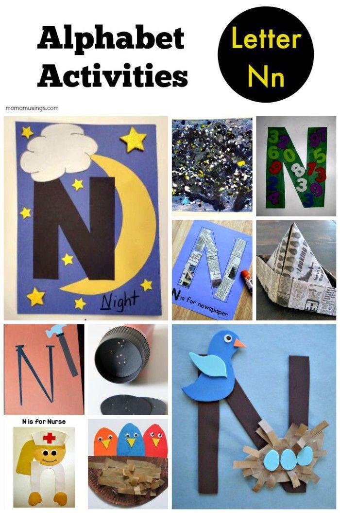 Letter N alphabet activities for preschool, kindergarten
