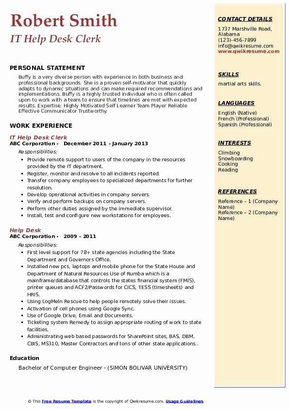 it help desk resume luxury help desk resume samples