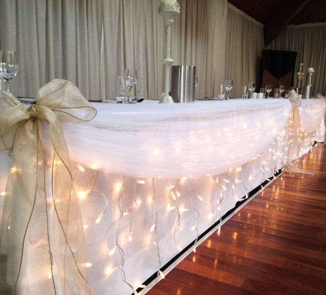 Diy Wall Draping For Weddings That Meet Interesting Decors: Dressing Your Top Table: Icicle Wedding Lights