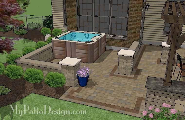 Our Dreamy Backyard Patio Design with Hot Tub, Pergola, Grill Station/Bar and Fire Pit area will seamlessly help you to turn your backyard into a beautiful oasis. #backyardremodel