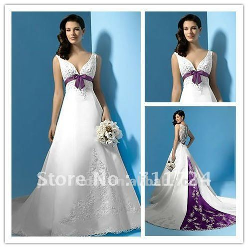 V Neck High Lace Back Purple And White Wedding Dresses In 2020