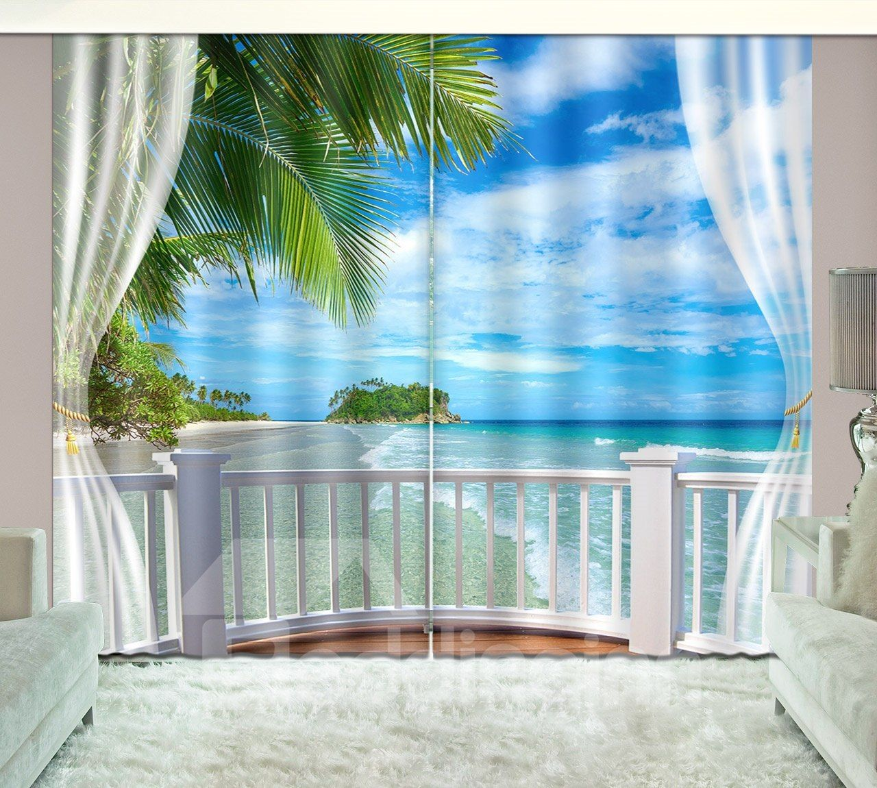 3d Seaside Beach Blue Sky White Cloud Printed Curtain Printed
