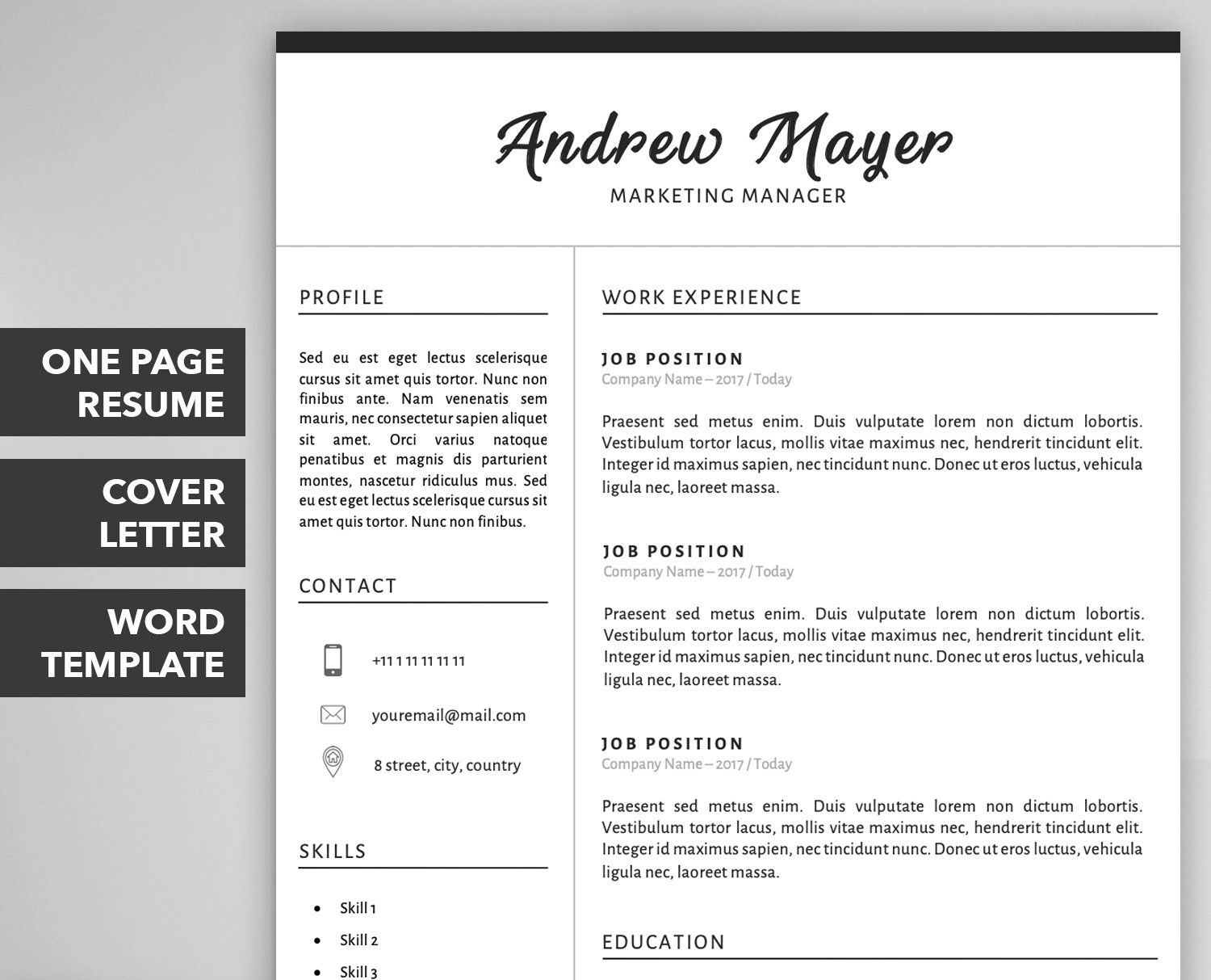 Resume Template / Curriculum Vitae CV Template + Cover