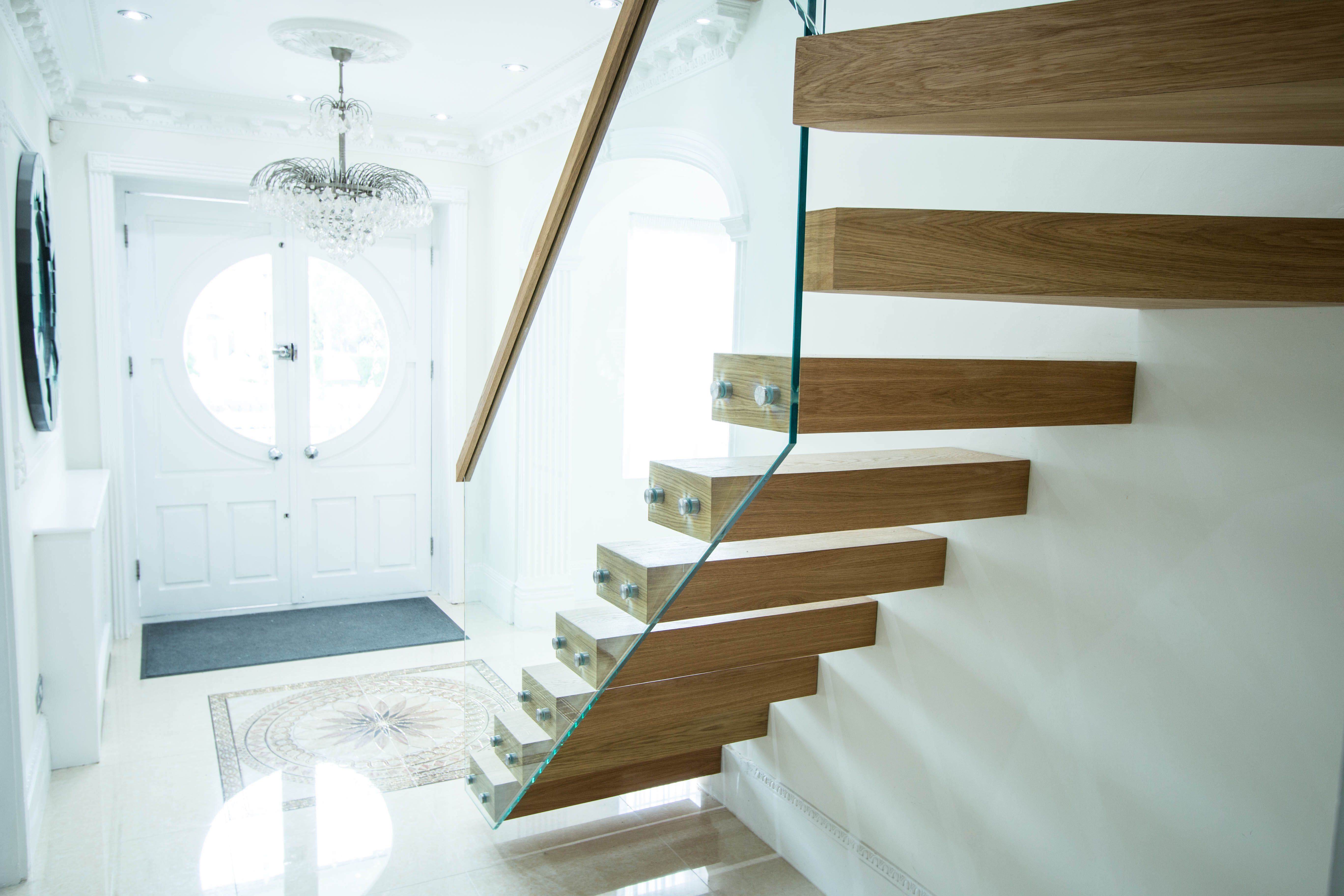 A Stylish Floating Staircase Designed To Fit The Victorian Style Of The  House. The Light