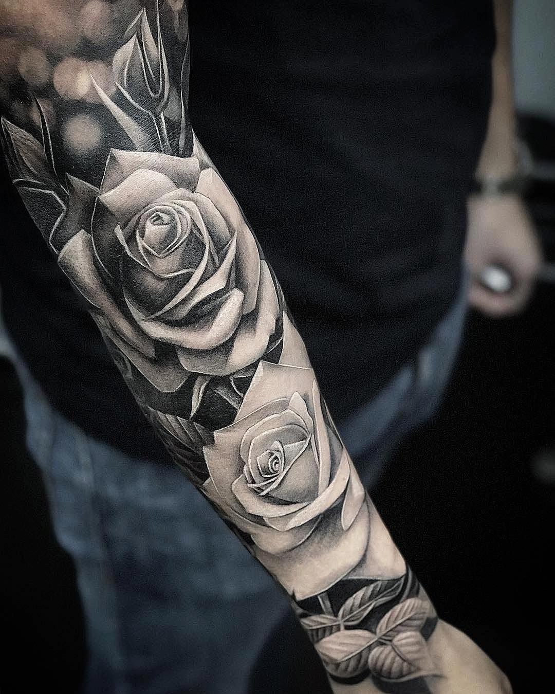"Em Morris on Instagram: ""Amazing artist Kir Tattoo @kir_tattoo awesome roses arm tattoo! @art_spotlight @inksav @worldofartists @bnginksociety @art @inkedmag…"""