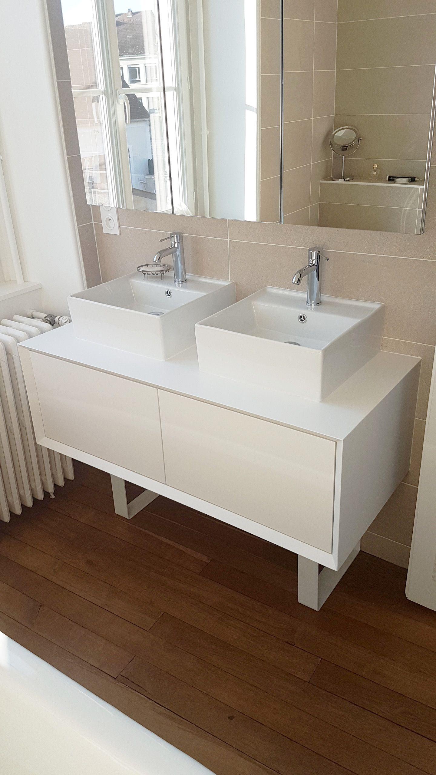 Meuble De Salle De Bain Realise Avec Des Pieds Fer Plat Blanc Sur Mesure Lafabriquedespieds Meuble Vasque La Fabrique Des Pieds Fer Plat