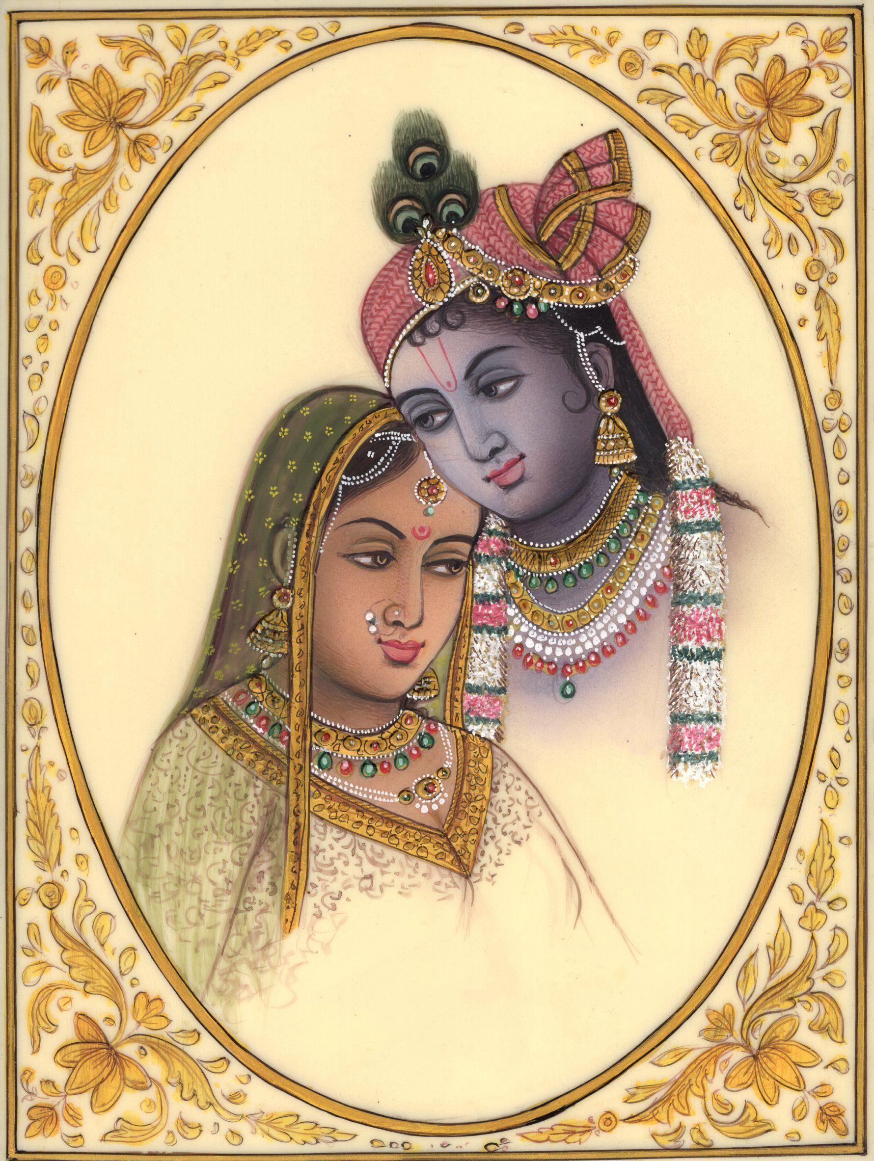 Radha Krishna Indian Hindu Painting Handmade Miniature Folk Home ...