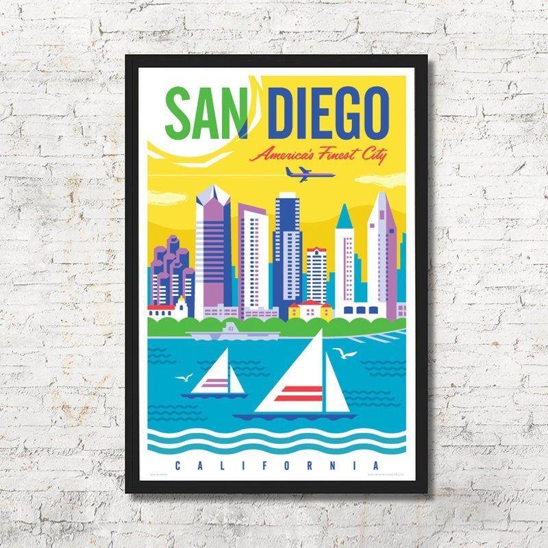 San Diego San Diego Poster San Diego Wall Art San Diego Art Etsy San Diego Art San Diego Skyline Wall Art
